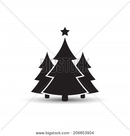 Christmas tree flat icon vector simple design with shadow. Black symbol of fir-tree.