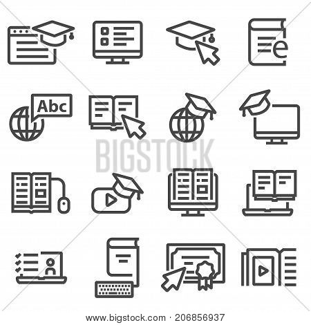Online education icons. Video tutorials training courses