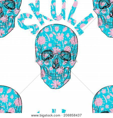 Seamless pattern. Flower Skull. Skull and beautiful floral pattern.