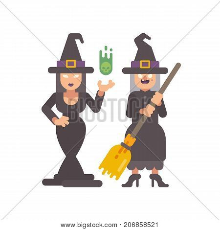 Two Witches In Pointy Hats. Young Witch Casting A Spell. Old Hag With A Broomstick. Halloween Charac
