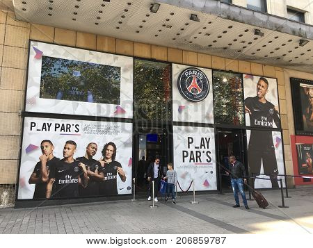 Paris France, 23 September 2017: PSG Paris Saint Germain football team official store on Les Champs Elysees with pictures of Neymar Mbappe and Cavani on window display