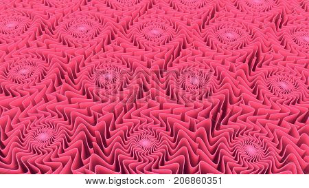 Abstract pattern background of three-dimensional pink shapes 3D rendering