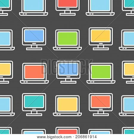 Computer Screen Symbol Seamless Pattern Background Personal Pc Technology Communication Concept for Business, Marketing, Commerce. Vector illustration
