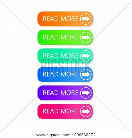 Read more buttons. Different colorful vector icons