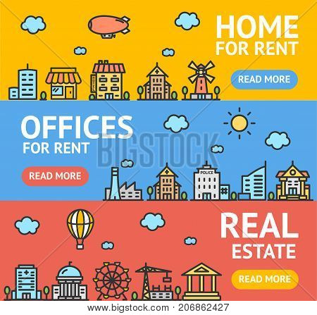 Real Estate Flyer Banner Posters Card Set Home, Apartment and Office Building for Rent and Sale Concept. Vector illustration of Rental Banners