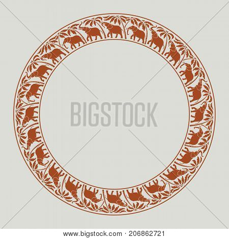 elephants and palm trees circle round ornament