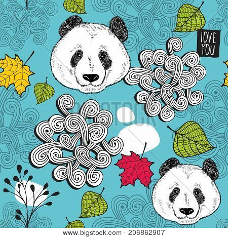 Colorful seamless background with cute chinese bear. Endless pattern with panda. Vector illustration for children and adults.