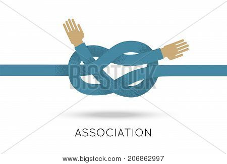 Association hands sea knot asymmetric flat style. Combining of two hands into asymmetric view in the flat style for designers and illustrators. Sign of cooperation in the form of a vector illustration
