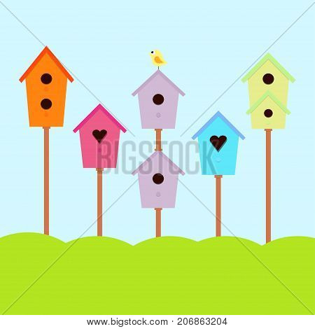 a set of cute bird houses and bird in a row collection of colorful birdhouses