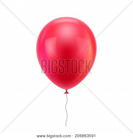 Red realistic balloon. Red inflatable balloon realistic isolated white background.