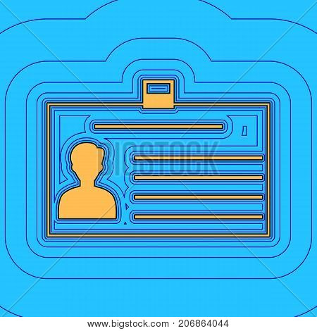 Identification card sign. Vector. Sand color icon with black contour and equidistant blue contours like field at sky blue background. Like waves on map - island in ocean or sea.