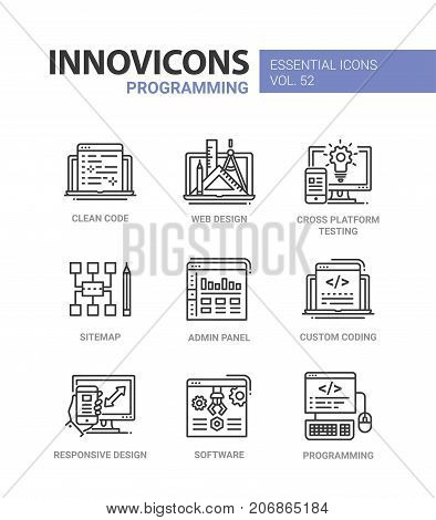 Programming - modern essential vector line design icons set. Clean code, web, responsive design, cross platform testing, mobile device, sitemap, admin, panel, custom coding, software, computer