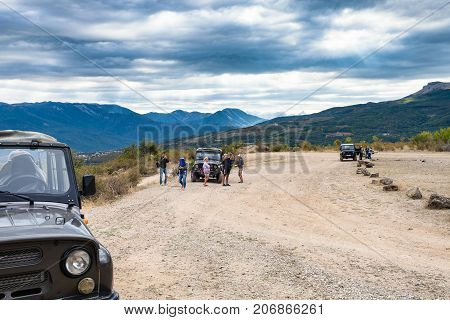 Tourists On Jeep Excursion In The Valley Of Ghosts