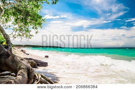 View on paradies beach of Playa Blanca on Island Baru by Cartagena in Colombia