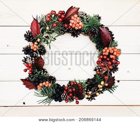 Wreath on the wooden background