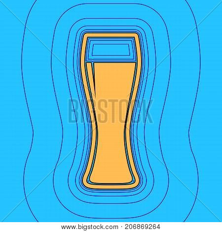 Beer glass sign. Vector. Sand color icon with black contour and equidistant blue contours like field at sky blue background. Like waves on map - island in ocean or sea.