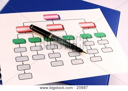 colorful organization chart with pen. poster