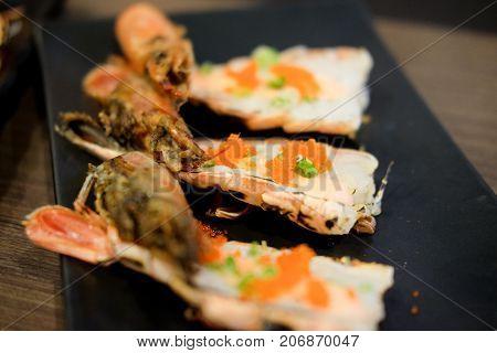 Fresh Shrimps Topping With Shrimp Egg