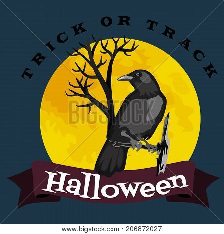 Black raven in moonlight perched on tree. Scary, creepy, gothic setting. Halloween night vector illustration.