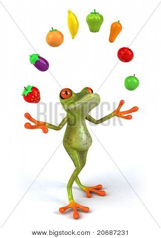 Frog and vegetables poster