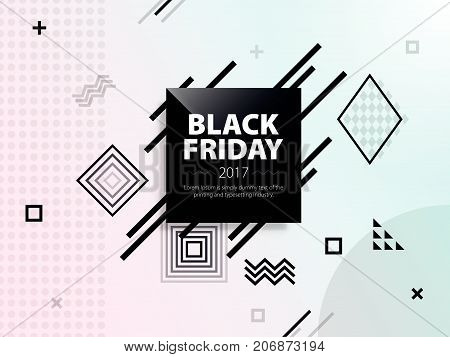 Black friday sale. Black and white web banner. Poster Sale. Template in memphis style. Fashionable and modern banner for advertising. Vector illustration