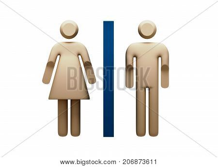 Restroom Sign representing male and female segregated toilet and wash rooms - 3d Illustrationr in Transparent PNG