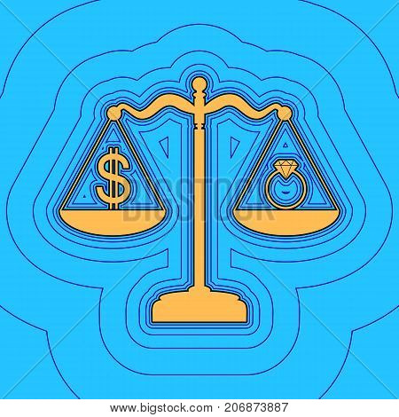 Ring jewelery and dollar symbol on scales. Vector. Sand color icon with black contour and equidistant blue contours like field at sky blue background. Like waves on map - island in ocean or sea.