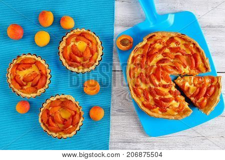 Apricot Tarts On Old Wooden Table