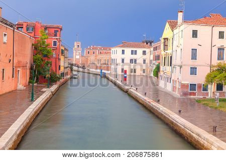 Venetian street in the early moring with no people
