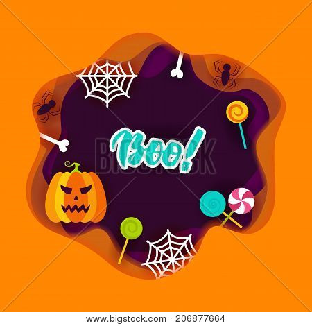 Halloween Boo Papercut Concept. Vector Illustration. Trick or Treat.
