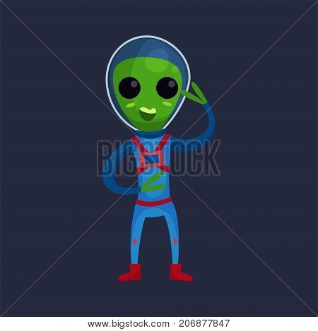 Friendly smiling green alien with big eyes wearing blue space suit waving his hand, alien positive character cartoon vector Illustration on a dark blue background