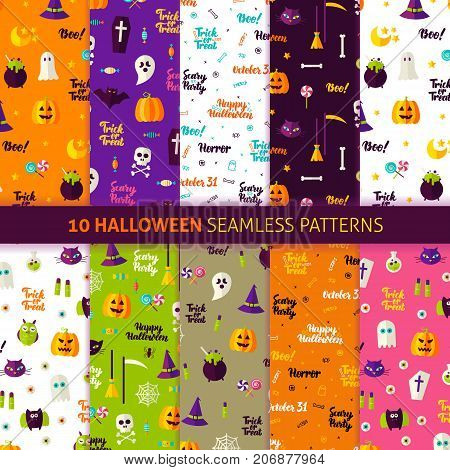 Halloween Holiday Seamless Patterns. Vector Illustration of Holiday Background. Trick or Treat.