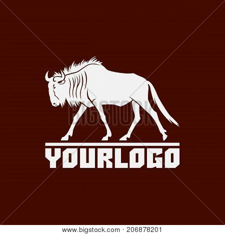 wildebeest logo sign vector illustration on brown background