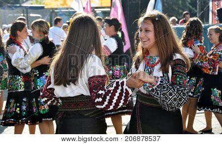 Borschiv - Ternopil - Ukraine - September 8 2013. Ukrainian folk holiday Borschevsk black embroidery and borscht