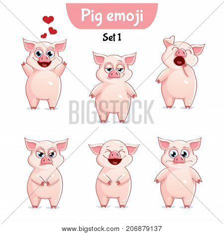 Set kit collection sticker emoji emoticon emotion vector isolated illustration happy character sweet, cute pig