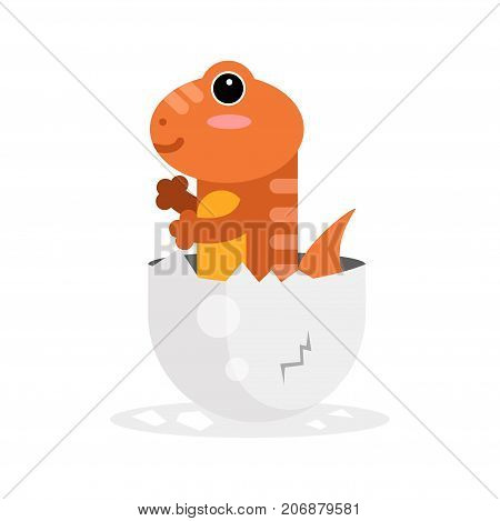 Cute newborn varan character, funny reptile in egg shell cartoon vector Illustration on a white background