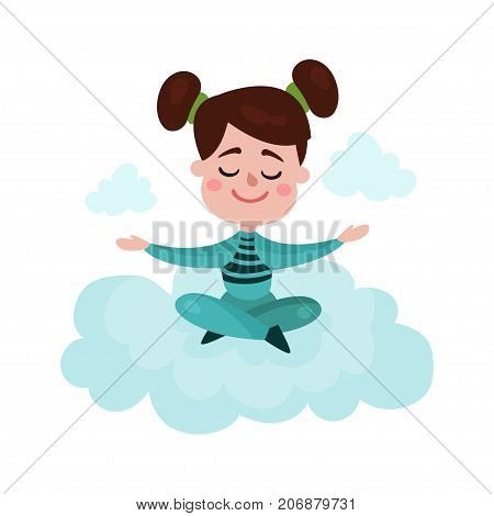Sweet brunette little girl sitting on a cloud and meditating, kid fantasizes and dreams cartoon vector Illustration on a white background