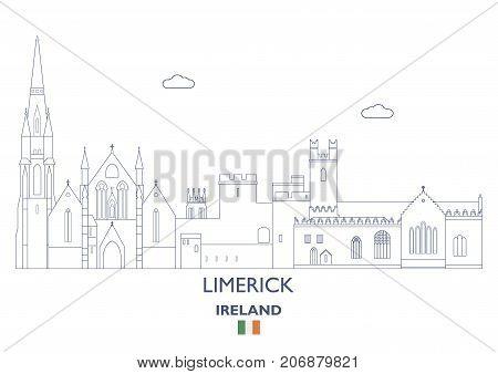 Limerick Linear City Skyline Ireland. Famous places