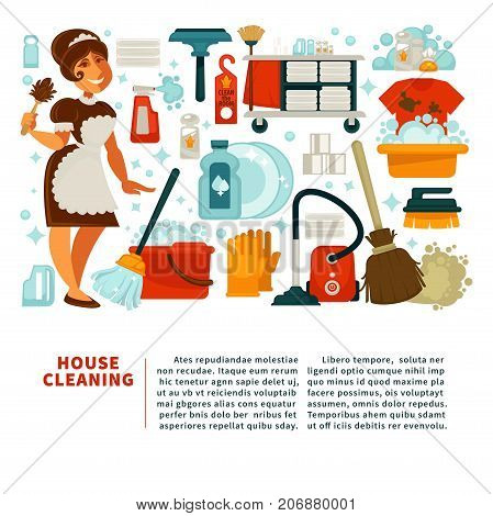 House cleaning service promotional banner with big text, maid in uniform and equipment for work with powerful cleaners in bottles isolated cartoon flat vector illustrations on white background.
