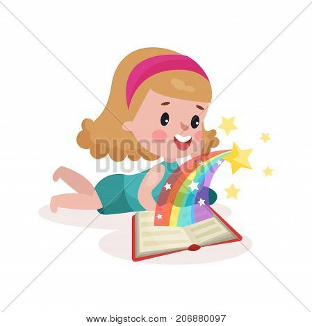 Cute little girl lying on her stomach and reading fairytale book with imagination rainbow colorful cartoon vector Illustration on a white background