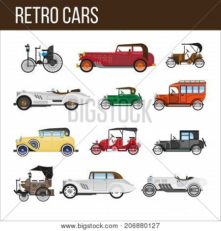 Retro cars with amazing vintage design isolated cartoon flat vector illustrations set on white background. Old stylish expensive rarity vehicles with hinged roofs, long corpuses and small salons.