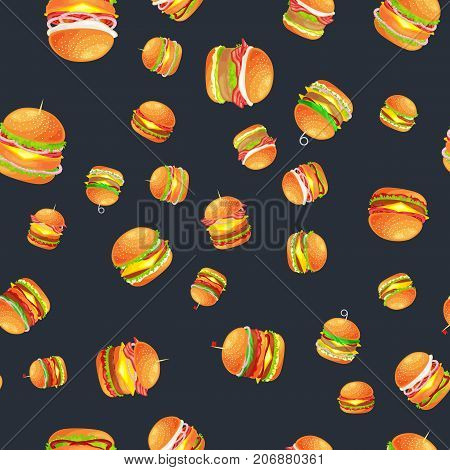 tasty burger with grilled beef and fresh vegetables dressed with sauce in bun for snack or lunch, hamburger is classical american fast food meal usual in menu could be barbecue meat bread tomato and cheese