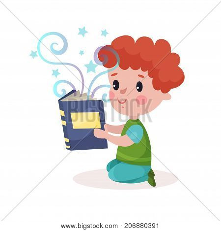 Cute little redhead boy reading fairytale book, kids imagination concept colorful cartoon vector Illustration on a white background