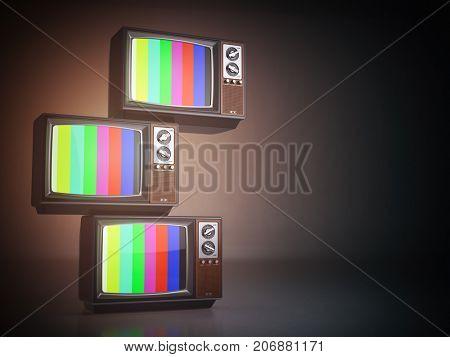 Stack of vintage tv set. Television background. 3d  illustration