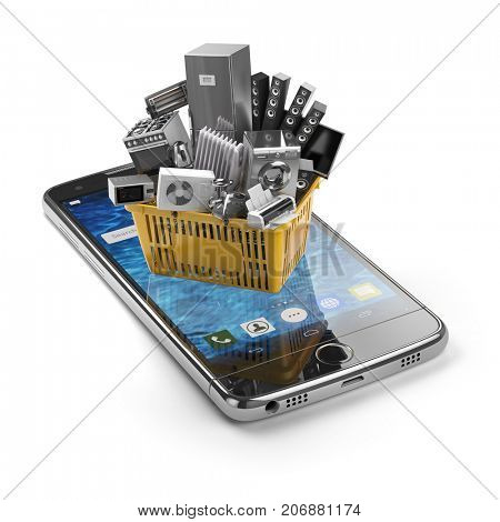 Mobile phone and shopping basket with home kitchen appliances isolated on white. E-commerce and online shopping by smartphone concept. 3d illustration