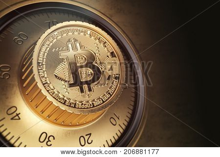 Safe lock with symbol of bitcoin. Bitcoin cryptocurrency security and protection of anonymity concept. 3d illustration