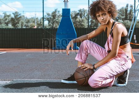 African-american Woman At Sports Court