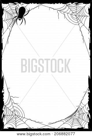 Happy Halloween poster with black frame from spider web in corners on white background. Trick or treat. Vector illustration