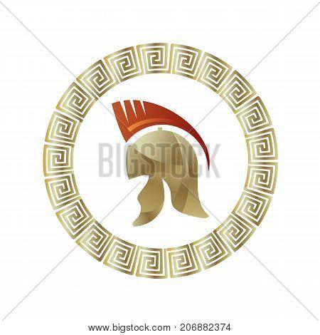Greek Military Helmet Icon Isolated on White Background. Circle Gradient Frame. Roman Headdress Logo