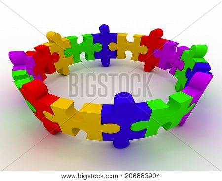 colorful puzzle concept . 3d rendered illustration